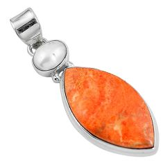15.55cts natural red sponge coral pearl 925 sterling silver pendant m69243