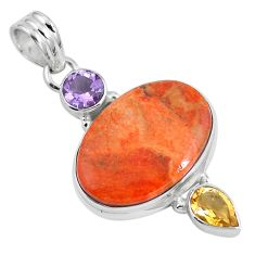 17.65cts natural red sponge coral citrine 925 sterling silver pendant m69245