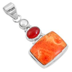 19.07cts natural red sponge coral onyx 925 sterling silver pendant m69247