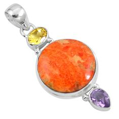 17.18cts natural red sponge coral citrine 925 sterling silver pendant m69248