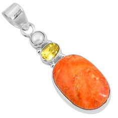 17.57cts natural red sponge coral citrine 925 sterling silver pendant m69249