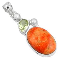 21.94cts natural red sponge coral amethyst 925 sterling silver pendant m69250