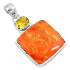 19.65cts natural red sponge coral citrine 925 sterling silver pendant m69251