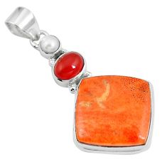 20.18cts natural red sponge coral onyx 925 sterling silver pendant m69252