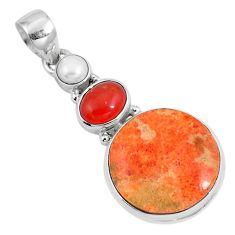 16.92cts natural red sponge coral onyx 925 sterling silver pendant m69253