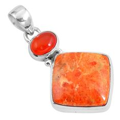 16.48cts natural red sponge coral onyx 925 sterling silver pendant m69256