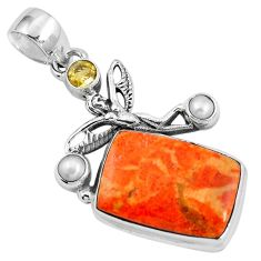 15.48cts natural red sponge coral citrine 925 sterling silver pendant m69257