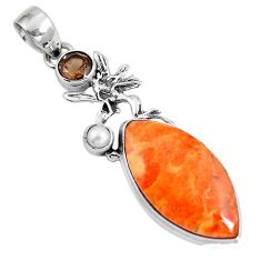 17.45cts natural red sponge coral smoky topaz 925 sterling silver pendant m69258