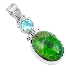 14.65cts natural green chrome diopside topaz 925 sterling silver pendant m69401