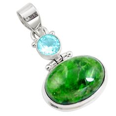 15.43cts natural green chrome diopside topaz 925 sterling silver pendant m69402