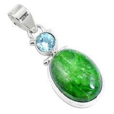 14.90cts natural green chrome diopside topaz 925 sterling silver pendant m69405