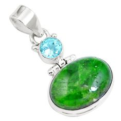 14.33cts natural green chrome diopside topaz 925 sterling silver pendant m69406