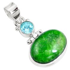 14.35cts natural green chrome diopside topaz 925 sterling silver pendant m69408