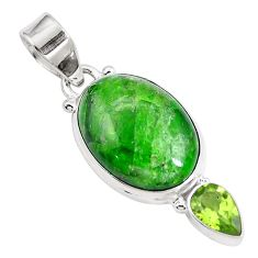 14.15cts natural green chrome diopside topaz 925 sterling silver pendant m69413