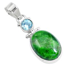 14.33cts natural green chrome diopside topaz 925 sterling silver pendant m69414