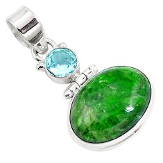 14.57cts natural green chrome diopside topaz 925 sterling silver pendant m69416