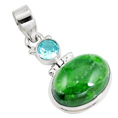 14.52cts natural green chrome diopside topaz 925 sterling silver pendant m69418