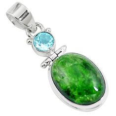 13.75cts natural green chrome diopside topaz 925 sterling silver pendant m69420
