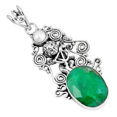 Natural green emerald pearl 925 silver cupid angel wings pendant m69791
