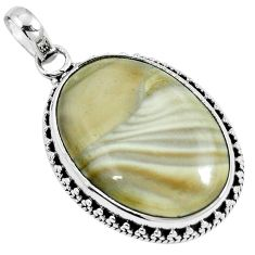 Natural brown striped flint ohio 925 sterling silver pendant m70004