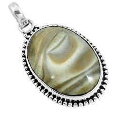 925 sterling silver natural brown striped flint ohio oval pendant m70005