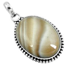 Natural brown striped flint ohio 925 sterling silver pendant m70006