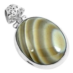 Natural brown striped flint ohio 925 sterling silver pendant m70008