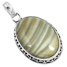 Natural brown striped flint ohio 925 sterling silver pendant m70016