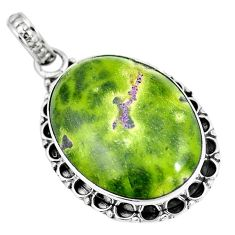925 silver green atlantisite (tasmanite) stichtite-serpentine pendant m70489