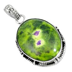 Green atlantisite (tasmanite) stichtite-serpentine 925 silver pendant m70499