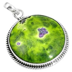 Green atlantisite (tasmanite) stichtite-serpentine 925 silver pendant m70508