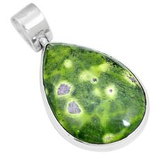 Green atlantisite (tasmanite) stichtite-serpentine 925 silver pendant m70511