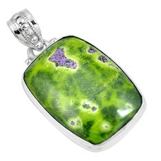 Green atlantisite (tasmanite) stichtite-serpentine 925 silver pendant m70517