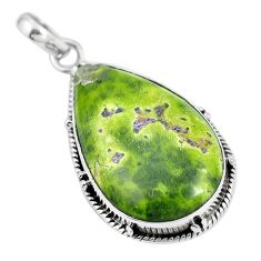 Green atlantisite (tasmanite) stichtite-serpentine 925 silver pendant m70520