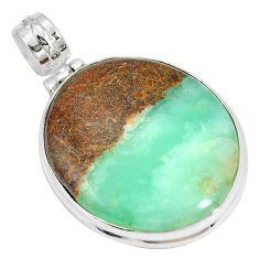 Natural brown boulder chrysoprase 925 sterling silver pendant m70521