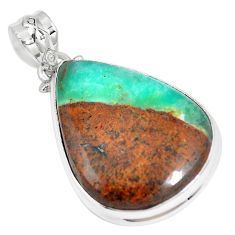 Natural brown boulder chrysoprase pear 925 sterling silver pendant m70525