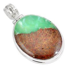 925 sterling silver natural brown boulder chrysoprase oval pendant m70527