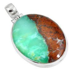 Natural brown boulder chrysoprase 925 sterling silver pendant m70531