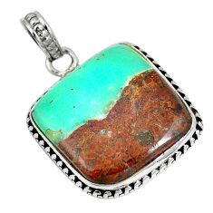 Natural brown boulder chrysoprase 925 sterling silver pendant m70565