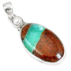 925 silver natural brown boulder chrysoprase oval pearl pendant m70578