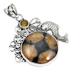 Natural brown chiastolite smoky topaz 925 silver fish pendant m70645