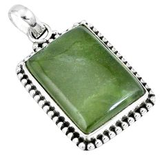 Natural green vasonite octagan 925 sterling silver pendant jewelry m71116