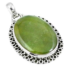 925 sterling silver natural green vasonite oval shape pendant jewelry m71120