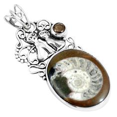 Natural brown ammonite fossil 925 silver two cats pendant jewelry m71131
