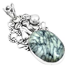 925 silver natural black pinolith white pearl two cats pendant jewelry m71148