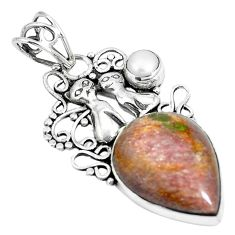 925 silver natural purple muscovite pearl two cats pendant jewelry m71159