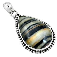 Natural black zebra jasper 925 sterling silver pendant jewelry m71301