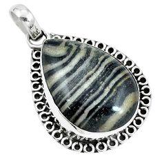 Natural black zebra jasper 925 sterling silver pendant jewelry m71302