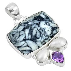 Natural white pinolith amethyst pearl 925 sterling silver pendant m71643
