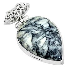 Natural white pinolith pear 925 sterling silver pendant jewelry m71645